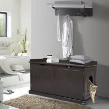 Pet Cat Litter Box Furniture Hidden Shelter Ottoman Bench Storage Chest Footrest