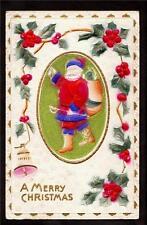 c1912 bas relief red & blue Santa Claus Christmas postcard