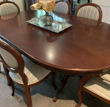 Antique style extendable dining table with six chairs in mahogany