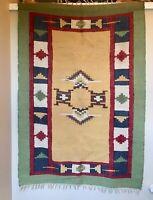 "VINTAGE NATIVE AMERICAN INDIAN NAVAJO RUG WOVEN WOOL TEXTILE ART 60""X42"" MULTI"