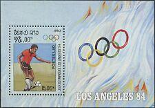 1983 LAOS Bloc N°70** J.O. Los Angeles 1984, football, Olympic, Soccer Sheet MNH