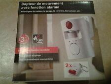 20542//CAPTEUR DE MOUVEMENT AVEC FONCTION ALARME AVEC 2 TELECOMMANDES 105DB NEUF