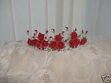 NEW STYLEbeautiful red rose & silver bead crystal tiara