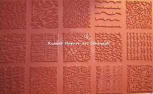 "Set of 15 Unmounted Texture Rubber Stamps 2"" Designs for Clay & Fabric Stamping"