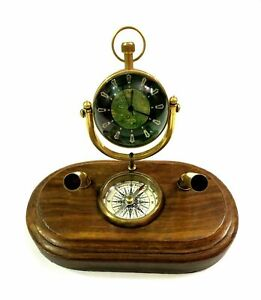 Nautical brass desk clock pen holder with wooden base collectibles office gift