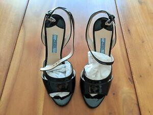 PRADA Black Patent Leather Ankle Strap Short High Heel Stiletto Wedge Open Toe
