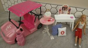 Disney High School Musical Sharpay golf cart clubs dressing table Barbie lot
