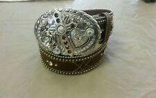 Nice Looking Ladies Leather Fancy Brown Western Belt By Roper Beads Studs Small