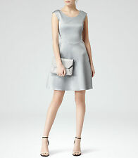 New REISS Alaskan Silver Grey Cole Fit & Flare Cocktail Party Dress Size 12 £189