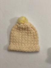 White Yellow Baby Hat Handmade Crochet Fits 3-6 months pom boy girl shower gift