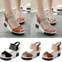 Women Peep Toe Wedge Sandals Ladies Platform Ankle Gauze Strap Slingback Shoes