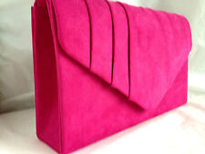 New Fuschia Pink Faux Suede Evening Day Clutch Bag Wedding Prom Party Vintage