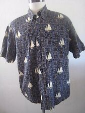 Crossings Cotton Sailboats on Blue and Gold Geometric Hawaiian Shirt Size Xl