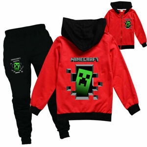 Boys Girls Kids Minecraft Tracksuit Zip Hooded Top Outfit Sports Set Age 5-13 Yr