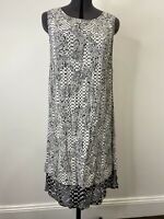 Kachel Tunic Layered Black & White Floral Dress Size 10 EUC