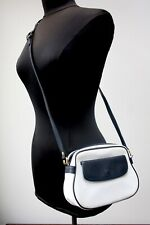 Vintage 1980s Longchamp White and Navy Crossbody Handbag