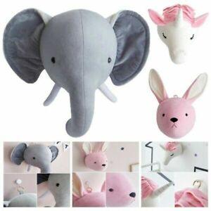 Plush Stuffed Wall Hanging Animal Head Wall Mount Doll Toy Kids Gift Room Decor