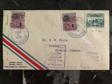 1930 San Jose Costa Rica First Flight airmail cover FFC To Ontario Canada