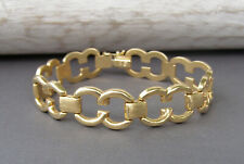 14K Yellow Gold Double C Circle Equestrian Link Bridle Stampato Bracelet