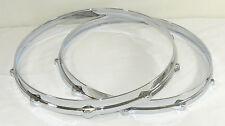 """14"""" 10 hole Die Cast Drum Hoops 1 Batter & 1 Snare Build Restoration Set Chrome"""