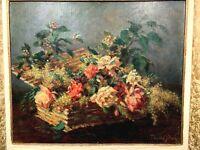 """Sublime Grande Huile sur toile Fin XIXe """"Panier aux fleurs"""" signée THOMAS JEAN"""
