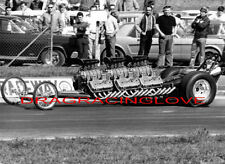 """""""Unknown"""" early 60s BLOWN TRIPLE """"Hemi"""" Engine """"SlingShot"""" Dragster PHOTO!"""