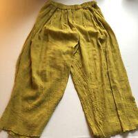 Mike & Tod Yellow Thin Lightweight Wide Leg Crop Pants Sz L A2320