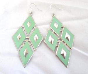 """3 3/4"""" Dangle Earrings Lt.Green Enameled Metal Diamond Shape Silver Accent Hooks"""