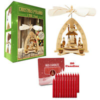 German Christmas Pyramid  Nativity Scene 9in Tabletop Decoration With 20 Candles