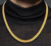 18k Yellow Gold Mens Womens Bold Cuban Curb Link Chain Stylish Necklace D517R