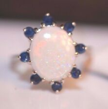 Oval Opal, Blue Sapphire 14k White Gold Ring size 5.75