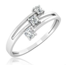 1.30ct d vvs1 round cut 3 diamond stone engagement ring weds 14k white gold over