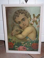 Antik Heiligenbild Schutzbild Jesus Kind mit Schaf Rosen Shabby Chic Bild