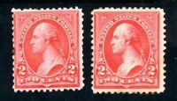 USAstamps Unused FVF US 1894 Washington Scott 251 MHR, 252 OG MLH