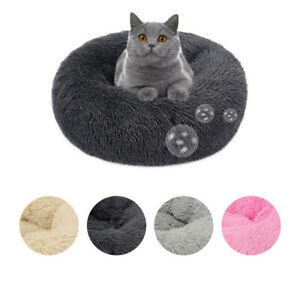 Pet Dog Cat Calming Beds Comfy Shag Warm Fluffy Bed Nest Mattress Donut Pad