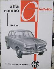 * Alfa Romeo Giulietta Berlina Catalogue Prospekt - 3.1956
