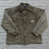 Vintage 90s Carhartt Blanket Lined Canvas Chore Work Jacket Made in USA Wip