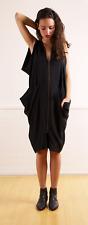 Future Classics Black Silk Dress Origami Art to Wear 80s Zip $1200 sz 10 EUC!