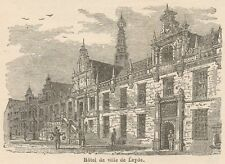 C8347 Netherlands - Leiden - Hotel de Ville - Stampa antica - 1892 Engraving