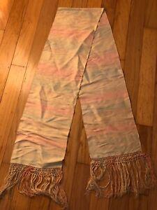 Vintage Silk Scarf Pastel Pink Blue White