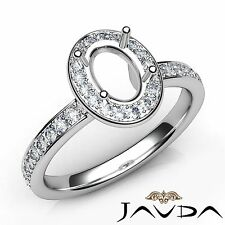 Classic 0.45Ct Halo Pave Diamond Engagement Oval Semi Mount Ring 14k White Gold