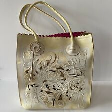 Patricia Nash Cavo Tote Leather Tooled In White and Metallic Gold Cut-outs Large