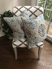 NEW O&L Nina Campbell Embroidered Blue Pillow Covers, Set Of 2