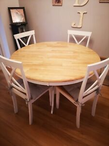 Oak round dining table and 4 chairs