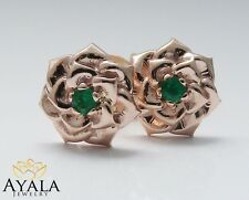 14K Solid Rose Gold Emerald Studs,Solid Gold Earrings,New Unique Stud Earrings,