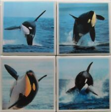Set of 4 - Natural Stone Ceramic Tile Marble Drink Coasters  - Orca's 3 F