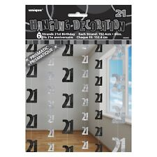 Unique Party 5 FT Hanging Glitz Prism 21st Birthday Decorations (pack of 6 Blac