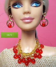 S879 Silkstone Barbie Fashion Royalty Doll Jewelry Red & Gold