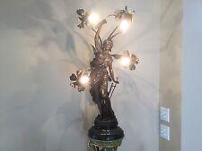 "Antique Art Nouveau Victorian Spelter French Figural Newel Post Lamp 34"""