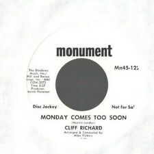 CLIFF RICHARD Monday Comes too Soon 45 RECORD NEAR MINT DJ PROMO STOCK Monument
